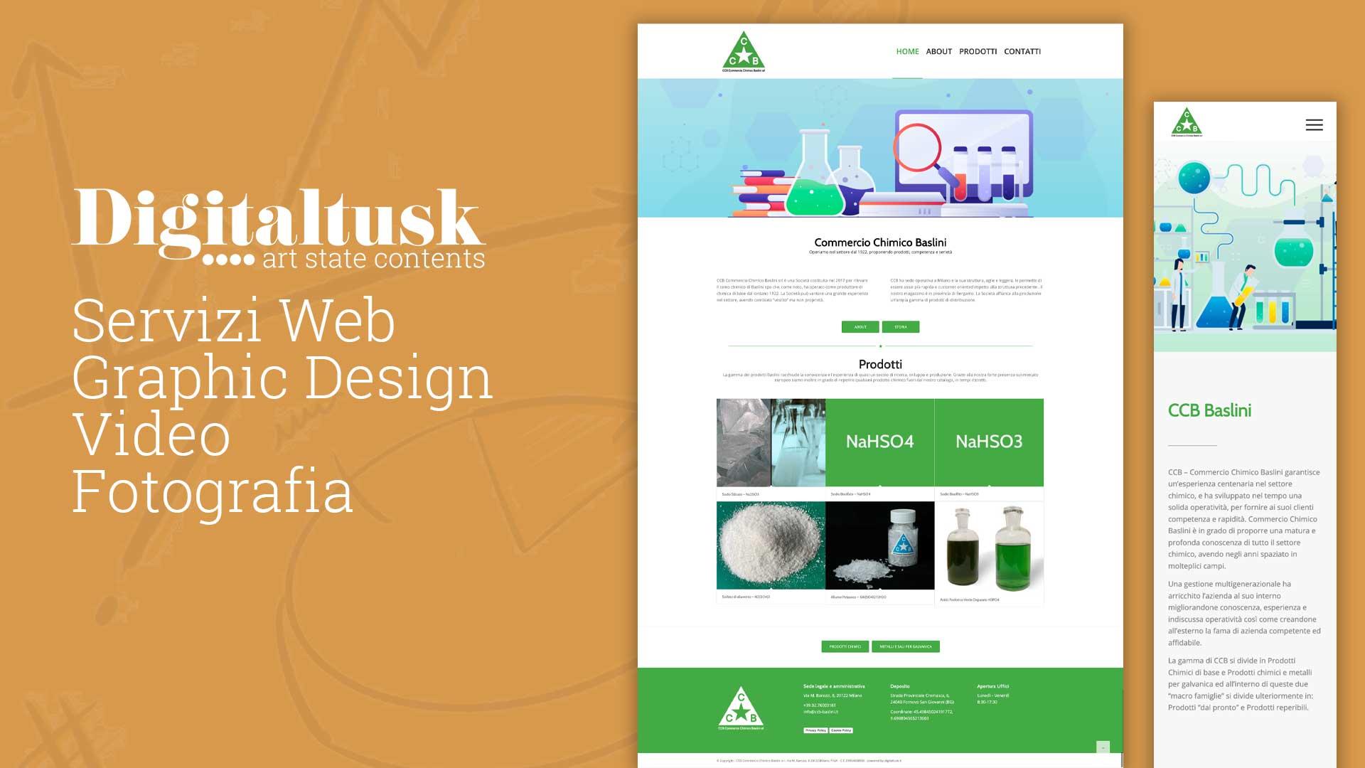 commercio chimico Baslini Milano azienda chimica web design digitaltusk