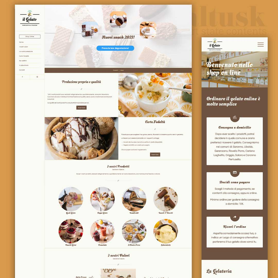 il gelato gelateria online e-commerce sito web
